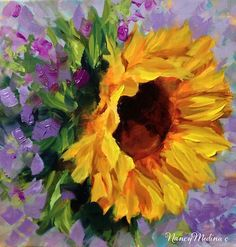 Artists Of Texas Contemporary Paintings and Art - Violets and Sunflowers by Texas Artist Nancy Medina