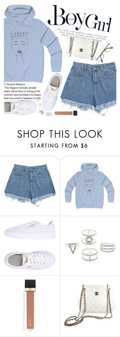 """""""Untitled #2430"""" by anarita11 ❤ liked on Polyvore featuring Boy Meets Girl, Puma, Charlotte Russe, Jouer and Chanel"""