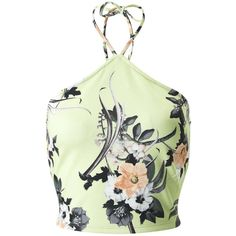 Miss Selfridge Lime Tropical Print Crop Top (€4,55) ❤ liked on Polyvore featuring tops, crop top, shirts, blusas, assorted, green top, green crop top, green halter top and halter neck tops