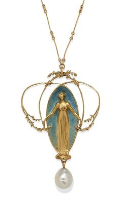 A BEAUTIFUL GOLD, ENAMEL AND PEARL ART NOUVEAU PENDANT BY RENE LALIQUE, c.1905 -   LALIQUE, Rene