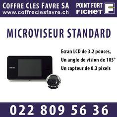 Microviseur Fichet STANDARD Le modèle Standard comprend un écran LCD de 3.2 pouces, un angle de vision de 105°, un capteur de 0.3 pixels... #Pointfortfichet #Geneve #Surveillance Angles, Lcd, Pixel