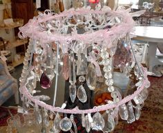 Chandelier made from mix match crystal prisms and a lamp shade frame#Repin By:Pinterest++ for iPad#