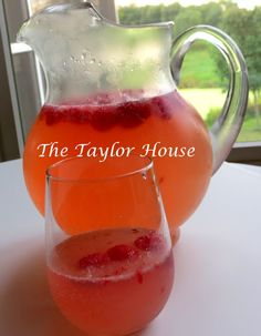 Raspberry Moscato Punch 2 bottles Moscato 1 raspberry lemonade concentrate 3 c of Sprite (more or less, depending on your taste) Fresh raspberriesI empty all of the liquid ingredients into a pitcher and stirred. Then mashed a few of the raspberries and put them in the pitcher. Place the rest of the raspberries in the glasses and pour the punch on top.