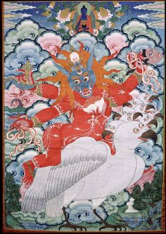 Kandroi Tsomo Che Chang Mar (English: Mistress of the Dakinis, Red Wolf Tongue): one of eight attendant figures in the retinue of Mahakala Gonpo Shanglon.