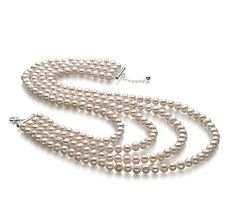 EmmaHalskette - Weiß A 6-7mm Süßwasser Shops, Silk Thread, Bling, Pearls, Sterling Silver, Luxury, Strands, Luster, Bracelets