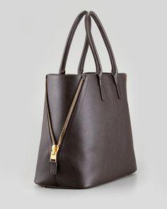 Tom Ford Jennifer Trapeze Calfskin Tote Bag, Brown - Neiman Marcus