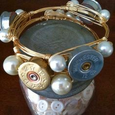 Shotgun Shell and Pearls - what every southern girl needs! Follow on Facebook and Instagram! @ Sweetsouthernbangles