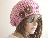 Hand Knit Hat Cloche PINK Spring Fall Autumn Winter Accessories Fashion