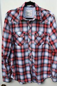 American Eagle Green & White Stripe Button Down Shirt Men Large ...