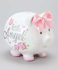 Take a look at this Baby Essentials White 'Little Angel' Piggy Bank on zulily today! Pig Baby Shower, Baby Girl Shower Themes, Baby Shower Gifts, Baby Girl Baptism, My Baby Girl, Pig Bank, Just For Gags, Toddler Themes, Money Bank