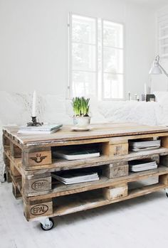 shipping pallet coffee table. (DIY: Stacked, stained, top with glass sheet)