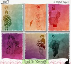 "Art deco fashion illustrations of women are featured on these printable art journal papers using a ""letterpress"" and gradient/ombre techniques. Instant download collection of 6 - 8.5"" x 11"" papers. (1373) $2.50"