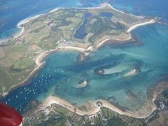 Aerial shot of Tresco from Mike Bawden - channel full of yachts after a few weeks of stunning weather