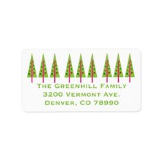 Festive Trees Custom Christmas Address Labels