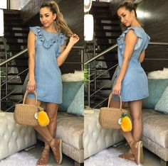 Dress Outfits, Casual Dresses, Fashion Dresses, Summer Dresses, Chambray Dress, Denim Outfit, Stylish Outfits, Cool Outfits, White Linen Dresses