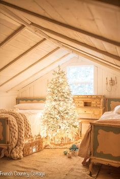 An Attic Room Dressed for Christmas: Sometimes all you need is a Christmas tree, twinkling lights, and some ornaments for a gorgeous vintage room decorated for the holidays. French Country Christmas, Cottage Christmas, Christmas Room, French Country Cottage, Rustic Christmas, Cottage Style, Christmas Trees, Magical Christmas, Christmas Presents