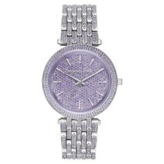 Michael Kors Darci Silver Crystal-Pave Bracelet Watch - Off Michael Kors Sale, Michael Kors Watch, Crystal Bracelets, Watch Sale, Bracelet Watch, Watches, Crystals, Silver, Accessories