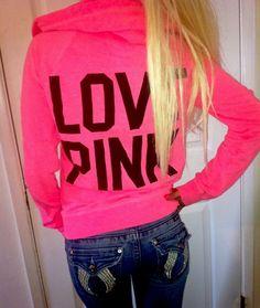 Pink By Victoria's Secret Neon Coral Hoodie Sweatshirt Jacket RAINBOW LOGO Sm #VictoriasSecret #Hoodie