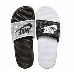Nike Benassi JDI women's slide sandals ($250) ❤ liked on Polyvore featuring shoes, sandals, nike shoes, nike footwear, flat shoes, star shoes and swarovski crystal shoes