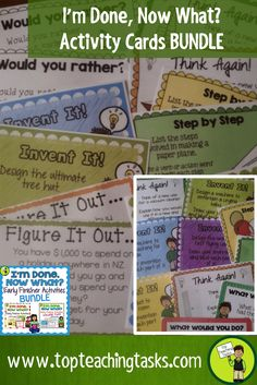 """This Early Finisher Task Cards bundle answers the common classroom question, """"I'm Done. Now What?"""" These print and go task cards are great activities build creative thinking, sequencing, writing and cause and effect skills. These are useful as an enrichment activity, as a bonus reward or bell ringer activity."""