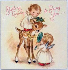 #1001 40s 40s Rust Craft Marjorie M Cooper Angels & Deer- Vtg Christmas Card