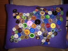 Decorative BUTTON'ed Pillow 16x12 by LLcontempdesigns on Etsy, $23.00