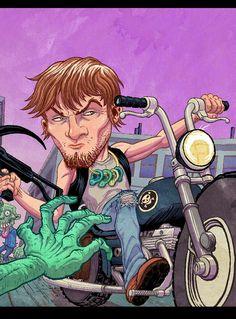 DARYL DIXON Walking Dead Series, The Walking Dead, Daryl Dixon, Norman Reedus, Caricature, Posters, Fan Art, Drawings, Artwork