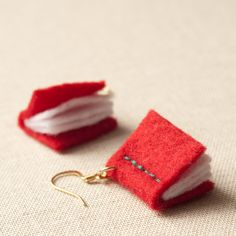 Book Earrings  Red Felt  Writers  Eco  Vegan  by KnitKnit on Etsy, $28.00