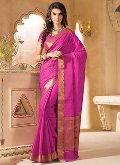 Honoured Kanchipuram Silk Hot Pink Saree