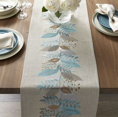 Delicate botanical design embellishes gorgeous linen runner with silky embroidery in springtime blues and neutrals. View larger image of Clara Linen Table Runner Loving this Fall Tree Embroidered Table Runner on Rug Runners for Hallway, Kitchen & Outdoor Table Runner And Placemats, Burlap Table Runners, Quilted Table Runners, Rug Runners, Crate And Barrel, Barrel Table, Embroidery Stitches, Hand Embroidery, Machine Embroidery