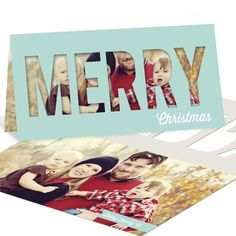 Christmas cards that are truly unique. This card has a cut out merry that will send extra joy this holiday. #HolidayCards