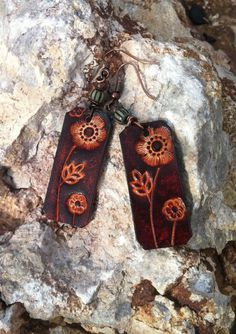 hand made leather earrings/hand tooled leather by longshotleather