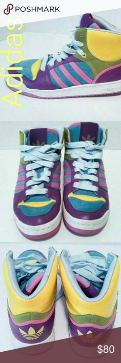 ADIDAS Sz 7.5 Game Oddity Multicolor Rainbow Game Mid Oddity 060069 Multicolor Rainbow Hi Top Shoes - These colorful Adidas are in excellent used condition, no worn edges, tears or stains..... From a smoke-free, dog friendly home, No trades and no off-site transactions! adidas Shoes Sneakers