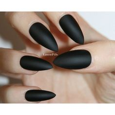 Matte Black Stiletto false nails! ($7.99) ❤ liked on Polyvore featuring beauty products, nail care, nails, makeup, beauty, nail polish, accessories and black beauty products