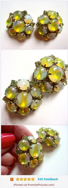 Yellow Opalescent JULIANA Earrings, Cabochons & Clear Rhinestones, Moonglow Vintage https://www.etsy.com/renaissancefair/listing/542316862/yellow-opalescent-juliana-earrings?ref=listings_manager_grid  (Pinned using https://PromotePictures.com)