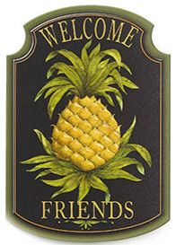 Pineapple Welcome Plaque - traditional - artwork - by Williamsburg Marketplace