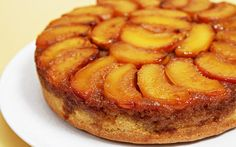 Ingredients: 1/4 cup butter 1/2 cup packed brown sugar 1 1/2-2 cups sliced, pitted and peeled peaches or frozen unsweetened peach slices, thawed and large slices cut in half lengthwise 1 1/4 cups all-purpose flour 1 1/4 teaspoons baking powder 1/4