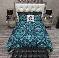 Blue and Teal Damask Skull Duvet Bedding Sets