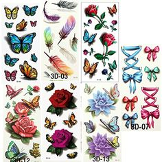 7PCS Beautiful Cute Sexy Trabsfer Tattoos Body Art Makeup Cool 3D Waterproof Temporary Tattoo Stickers For Girls Man Tatouage -- Read more at the image link. (This is an affiliate link) #Makeup
