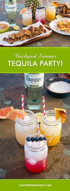 Backyard Summer Tequila Party Menu -  Throw the hottest summertime bash in town with your own Tequila Party, featuring these tequila cocktails and tequila-inspired recipes. #Tanteo #Ad