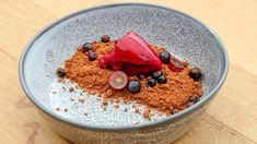 This creative dessert consists of Cabernet Sauvignon and Raspberry Sorbet with Chocolate Soil and is sure to satisfy your sweet tooth. Chocolate Soil, Chocolate Orange, Melting Chocolate, Small Food Processor, Food Processor Recipes, Gourmet Recipes, Dessert Recipes, Orange Mousse, Masterchef Recipes
