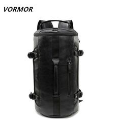 e790b497f6df VORMOR Large Size Round Leather Mens Travel Fashion Rolling Backpack