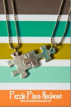 "Interlocking Puzzle Piece Necklaces at thatswhatchesaid.net - This would be great for preteen girls so they could include LOTS of friends and not just one ""best friend.""  Would be fun to make at a party!"