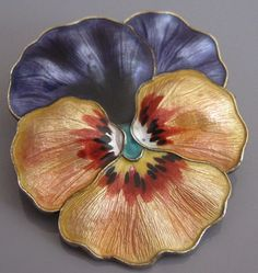 Rare C1910 Antique Signed Norway Large Guilloche Enamel Pansy Brooch.