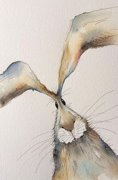 Thank you for viewing my hare painting! This is an original watercolour painting. - Thank you for viewing my hare painting! This is an original watercolour painting with pen detailing - Painting Prints, Painting & Drawing, Art Prints, Watercolor Animals, Watercolor Art, Watercolour Paintings, Painting Illustrations, Original Paintings, Animal Paintings