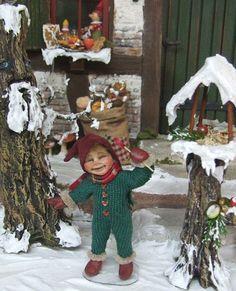 Winter Pixie boy no.1, orig OOAK 1/12th miniature doll by Silke Janas-Schloesser
