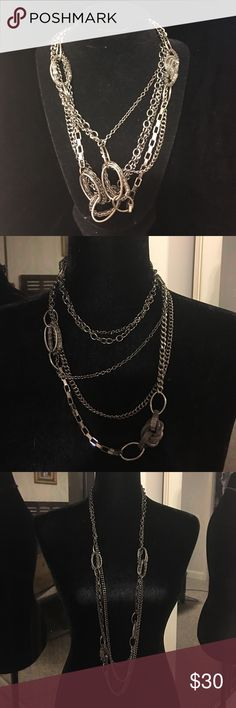 """🆕Premier Design 21"""" drop dark grey chain necklace 🆕Premier Design 21"""" drop dark grey chain necklace- extremely versatile - can be wrapped in any number of ways showing different aspects of the chain detailing- three tiered layered necklace that can be the spot light for any wardrobe ! Premier Designs Jewelry Necklaces"""