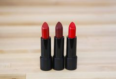 Three beautifully formulated red lipsticks!Victory is a blue/cool toned red, Mirror Mirror is a deep burgundy, Strut is a orange/warm red. Shop these shades and more on Suavecita.com. #Suavecitalipsticks #Lipsticks #Redlipstick #Red #Lippie #Victory #Mirrormirror #Strut #Shades #Makeup #Cosmetics #Mua #Muah #Vegan #Crueltyfree #Collection #Suavecitabeauty #Beauty