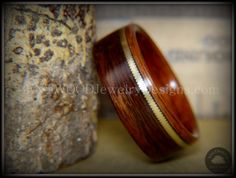 """Bentwood Ring - """"Heavy Acoustic"""" Santos Rosewood / Pau Ferro Rosewood Ring with Thick Bronze Guitar String Inlay"""