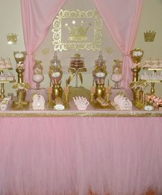 Pink and Gold Royal Princess candy buffet. Pink tutu skirt: